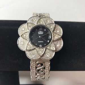 USS Silver Colorer Floral Rhinestone Watch